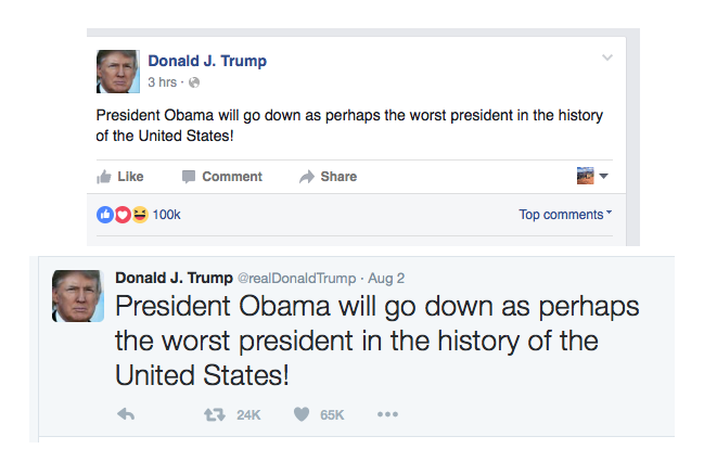 Trump FB and Twitter